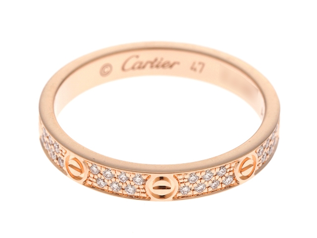Cartier カルティエ リング 指輪 LEVEリング  ラブリングSM  ピンクゴールド ダイヤモンド パヴェ 47号 B4218100 SJ【472】【中古】【大黒屋】
