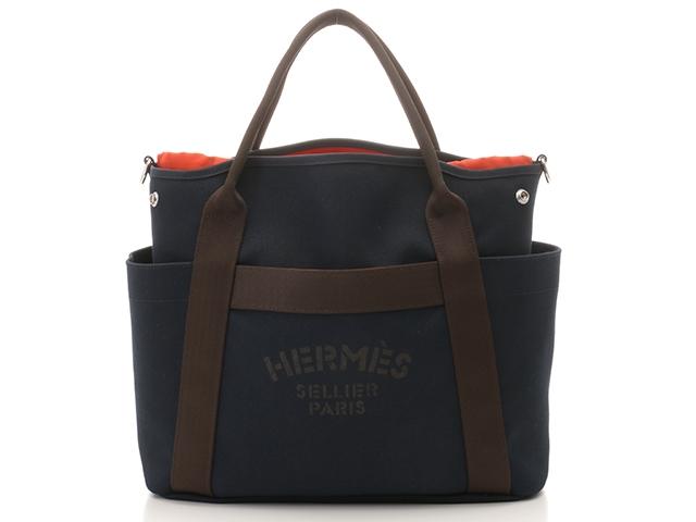 【送料無料】HERMES エルメス トートバッグ サックドパンサージュグルーム ネイビー オレンジ シルバー金具 C刻印【430】【中古】【大黒屋】