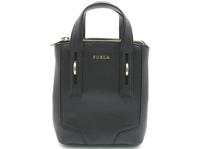 FURLA フルラ 2WAYバッグ ブラック 型押し 【430】【中古】【大黒屋】