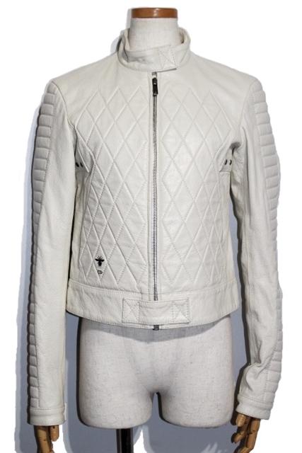 【送料無料】Christian Dior クリスチャンディオール レザージャケット レディース 38 ホワイト ゴートスキン やぎ革 シングルライダース【200】【中古】【大黒屋】