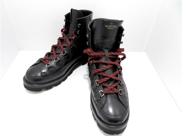 VALENTINO ヴァレンティノ くつ ブーツ 43日本サイズ約28cm ブラック レザー 【437】【中古】【大黒屋】