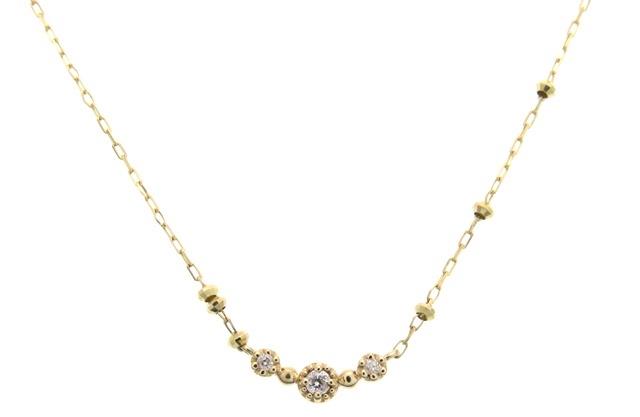 4℃ K10 ダイヤモンド ネックレス 【430】【中古】【大黒屋】
