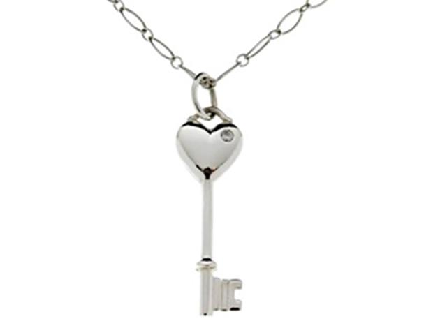 TIFFANY&CO ティファニー ハートキー シルバー ダイヤモンド1P ネックレス SV 1PD 4.0g【430】【中古】【大黒屋】