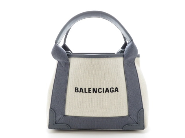 【送料無料】BALENCIAGA バレンシアガ バッグ トートバッグ ネイビーカバ XS キャンバス/レザー ナチュラル/グレー【430】【中古】【大黒屋】