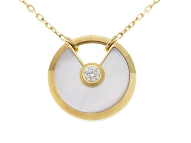 【送料無料】Cartier カルティエ YG イエローゴールド ホワイトマザーオブパール ダイヤモンド アミュレットドゥ ネックレス SMサイズ 【430】【中古】【大黒屋】