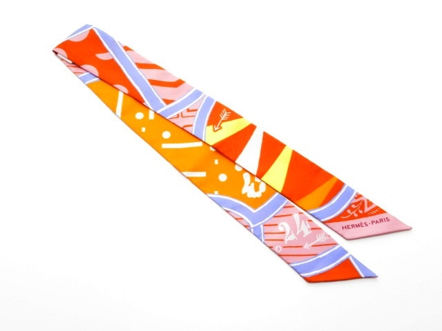 HERMES エルメス 衣料品 トゥイリー ツイリー スカーフ シルク オレンジ ピンク 【430】【中古】【大黒屋】