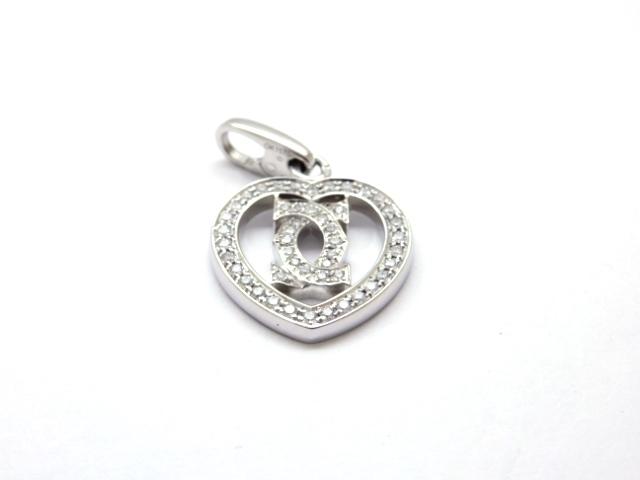 【送料無料】Cartier カルティエ 貴金属 宝石  チャーム 2Cハートチャーム WG ダイヤ 5.9g 【432】【中古】【大黒屋】