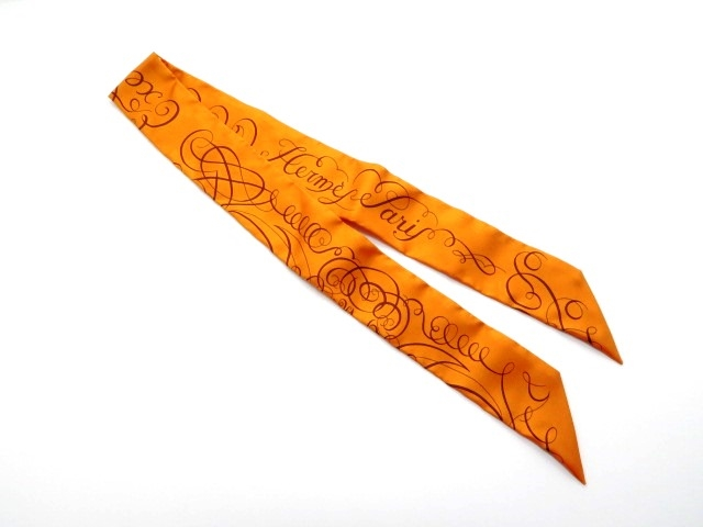 HERMES エルメス 衣料品 トゥイリー ツイリー スカーフ シルク オレンジ 【430】【中古】【大黒屋】