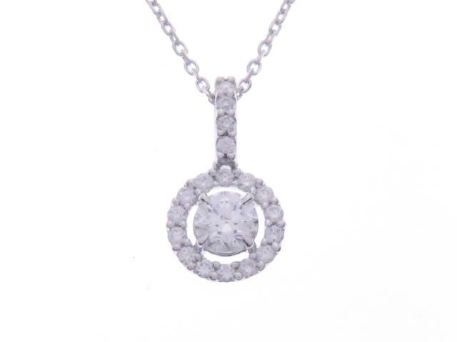 【送料無料】JEWELRY ノンブランドジュエリー ダイヤモンド ネックレス K18WG D0.316 0.16 2.8g【434】【中古】【大黒屋】
