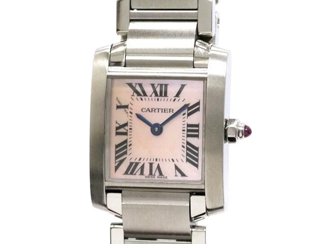 【送料無料】Cartier カルティエ タンクフランセーズSM ステンレス W51028Q3 ピンク・シェル 女性用クオーツ時計【473】【中古】【大黒屋】
