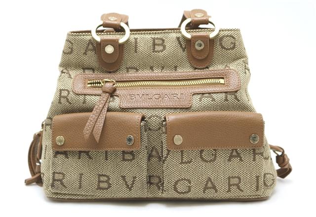BVLGARI  バッグ  ハンドバッグ  型押し キャンバス 【433】【中古】【大黒屋】