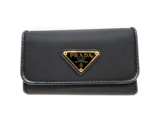 PRADA プラダ 小物 6連キーケース キーケース ナイロン 1PG222 ブラック 【437】【中古】【大黒屋】