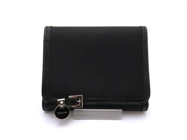 PRADA プラダ 三つ折財布 ナイロン/カーフ ブラック 【473】【中古】【大黒屋】