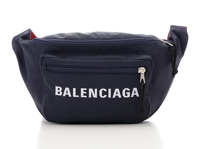 【送料無料】BALENCIAGA バレンシアガ ウエストバッグ 533009 ナイロン ネイビー レッド 【432】【中古】【大黒屋】