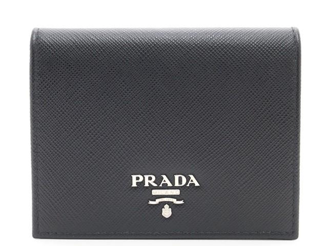 PRADA ブラダ サイフ・小物 二つ折財布 サフィアーノ ブラック【433】【中古】【大黒屋】