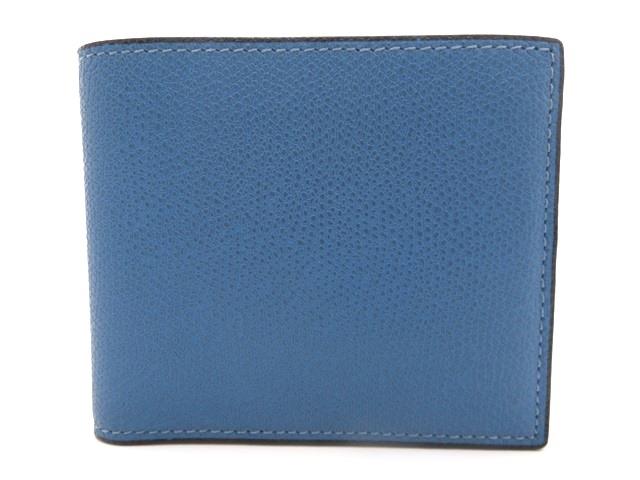 Valextra ヴァレクストラ サイフ・小物 二つ折り財布 カーフ型押し ブルー V8L04-28-CB【471】【中古】【大黒屋】
