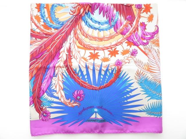 HERMES  エルメス 衣料品  スカーフ   カレ90  ムラサキ/オレンジ/ブルー/アカ 【430】【中古】【大黒屋】