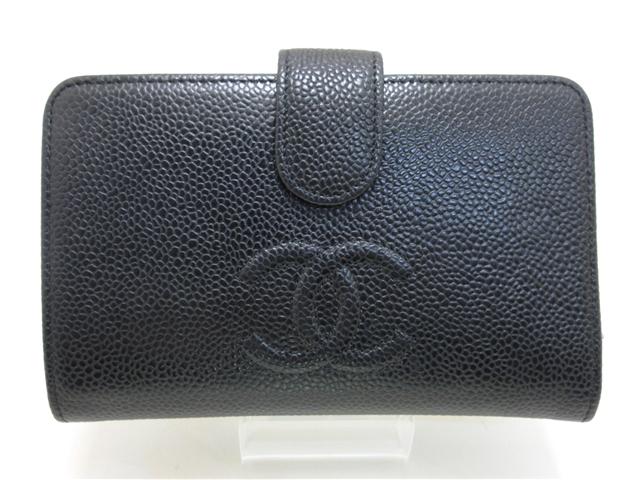 【送料無料】CHANEL シャネル 二つ折財布 キャビアスキン ブラック 【432】【中古】【大黒屋】