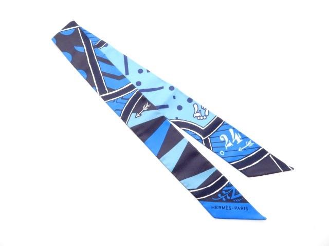 HERMES エルメス 衣料品 トゥイリー ツイリー スカーフ シルク ブルー 【430】【中古】【大黒屋】