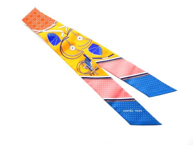 HERMES エルメス 衣料品 トゥイリー ツイリー スカーフ シルク オレンジ ピンク ブルー 【430】【中古】【大黒屋】