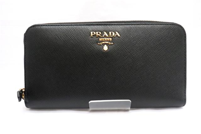PRADA プラダ ラウンド長財布 サフィアーノ ブラック【471】【中古】【大黒屋】
