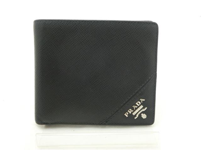 PRADA サイフ・小物 二つ折財布 サフィアーノ/ノワール 【430】【中古】【大黒屋】