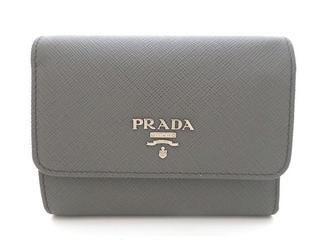 PRADA プラダ 三つ折財布 財布 型押し グレー サフィアーノ 1MH840【471】【中古】【大黒屋】