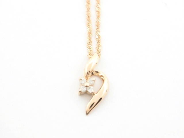 JEWELRY ノンブランドジュエリー ネックレス K18ピンクゴールド ダイヤモンド D0.09ct SJ【472】【中古】【大黒屋】