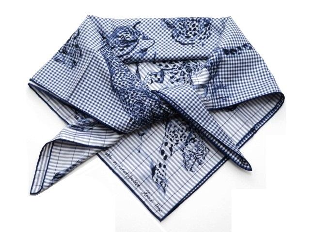 HERMES エルメス 衣料品 スカーフ カレ 90 トラ ヒョウ デザイン シルク ブルー 箱付き【430】【中古】【大黒屋】