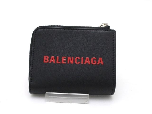 BALENCIAGA バレンシアガ 小物 小銭入れ ZIPコインケース カーフ ブラック キーリング付【473】【中古】【大黒屋】
