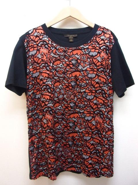 LOUIS VUITTON ルイヴィトン Tシャツ レディースL シルク コットン レッド ブラック 【432】【中古】【大黒屋】