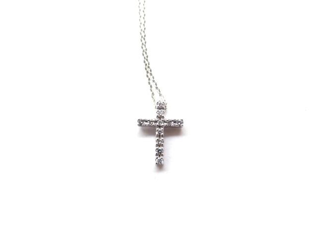 4℃ ヨンドシー 貴金属 宝石 ネックレス K18WG D 2.0g チェーン約40cm 【432】【中古】【大黒屋】