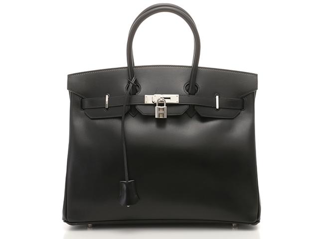 【送料無料】HERMES ハンドバッグ バーキン35 ブラック×シルバー色金具【472】【中古】【大黒屋】