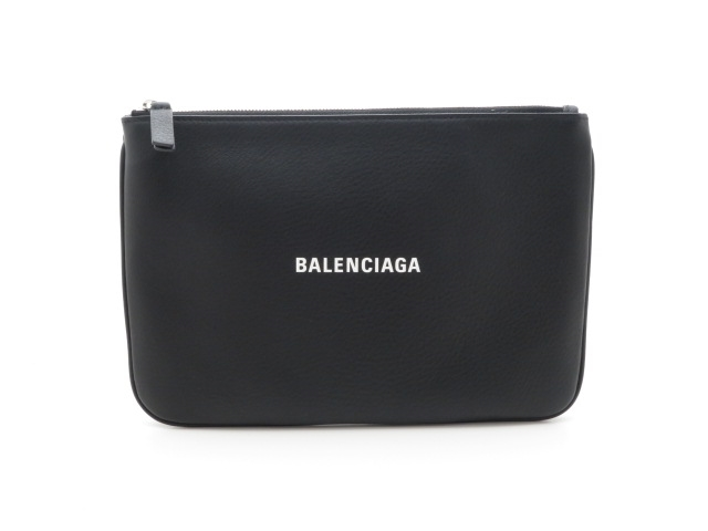 BALENCIAGA ロゴポーチ レザー 黒【430】【中古】【大黒屋】