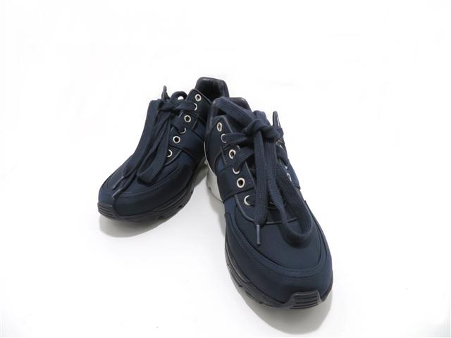 CHANEL シャネル 靴 スニーカー 36 ネイビー ファブリック 【437】【中古】【大黒屋】