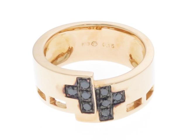 【送料無料】JEWELRY ノンブランド ピンクゴールド ブラックダイヤモンド クロス リング K18PG D0.15 10.1g 13号【430】【中古】【大黒屋】