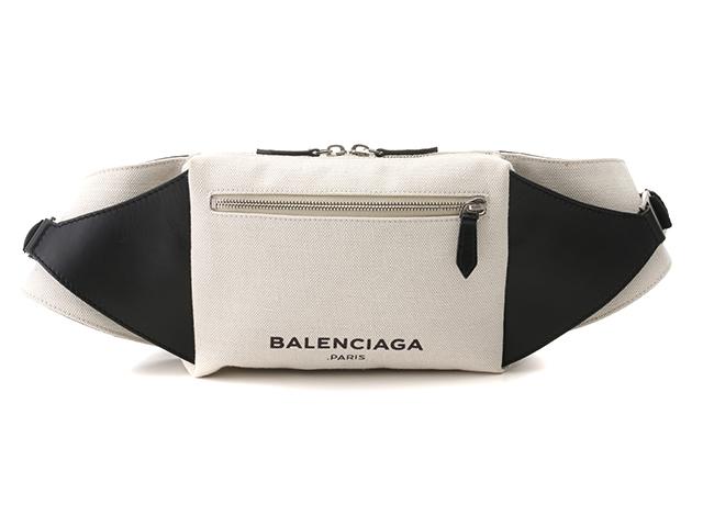 【送料無料】BALENCIAGA バレンシアガ バッグ ウエストバッグ ベルトバッグ キャンバス/カーフ ホワイト/ブラック【472】【中古】【大黒屋】