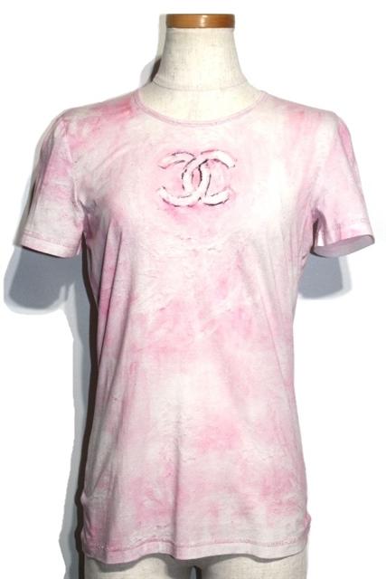 CHANEL シャネル トップス Tシャツ P34611K02001 レディース38 ピンク コットン ココマーク【432】【中古】【大黒屋】
