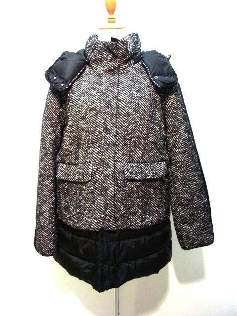 Max Mara WEEKEND マックスマーラ ウィークエンド  コート 42 ブラック ホワイト ウール 【432】【中古】【大黒屋】