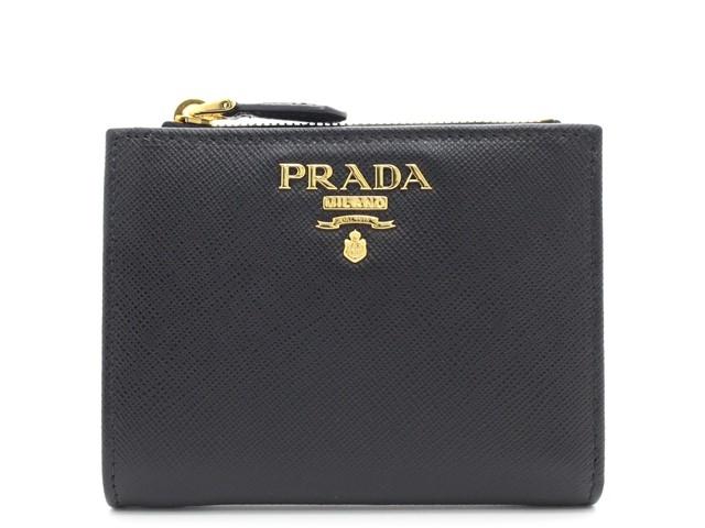 PRADA プラダ 二つ折財布 サフィアーノ ブラック 1ML023 【474】【中古】【大黒屋】