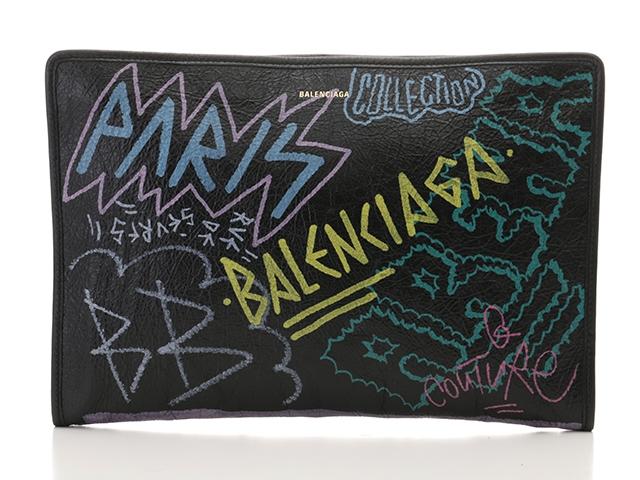 BALENCIAGA バレンシアガ バッグ セカンドバッグ クラッチバッグ グラフィティバザール ブラック 型押し【430】【中古】【大黒屋】
