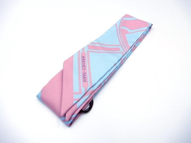 HERMES エルメス トゥイリー スカーフ シルク ブルー ピンク 【432】【中古】【大黒屋】