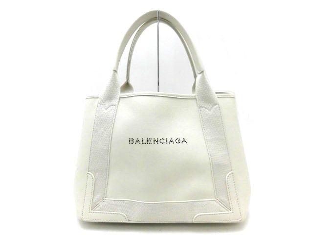 【送料無料】BALENCIAGA バレンシアガ ネイビーカバS パンチングロゴ ハンドバッグ ラムスキン ホワイト【473】【中古】【大黒屋】