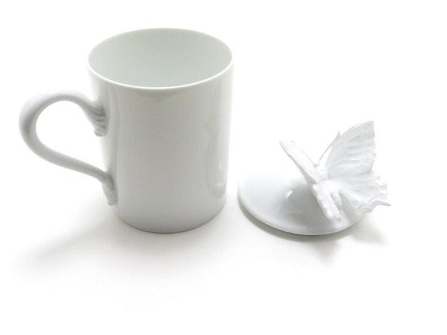 GUCCI グッチ グッチデコール バタフライ マグカップ 陶器 ポーセリン ホワイト 【430】【中古】【大黒屋】