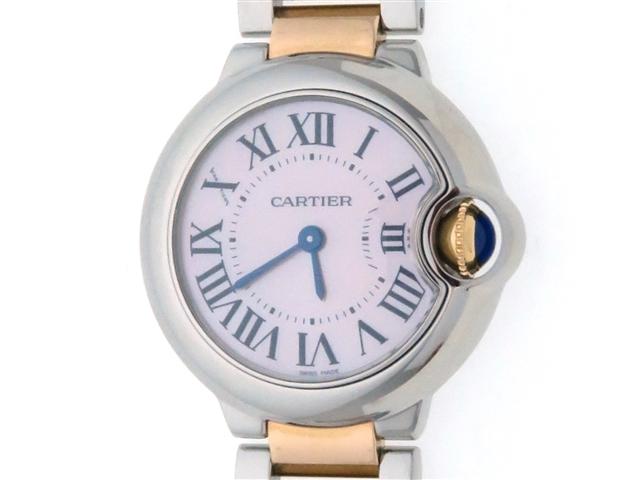 Cartier カルティエ バロンブルーSM W2BB0009 YG/SS(K18/ステンレス) ピンクシェル文字盤 クオーツ レディース 【436】【中古】【大黒屋】