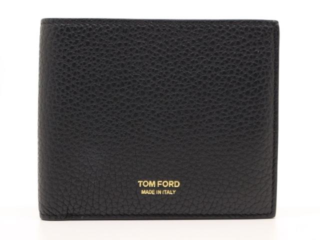 TOM FORD トムフォード サイフ・小物 財布 二つ折り札入れ ブラック カーフ【471】【中古】【大黒屋】