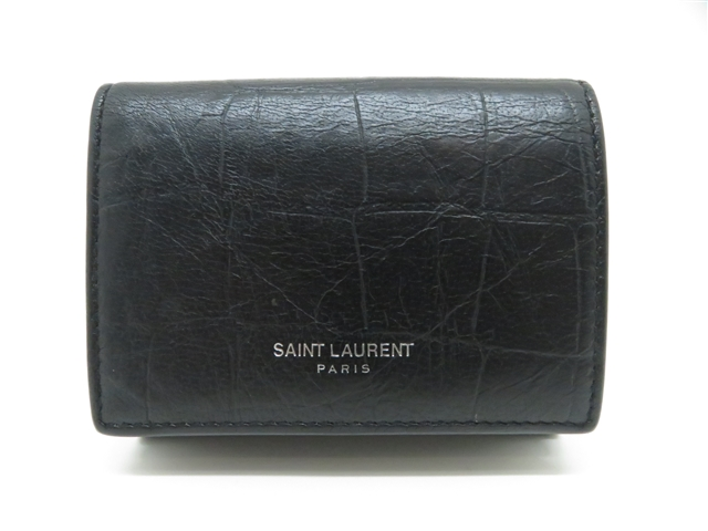 SAINT LAULENT サンローラン 三つ折りコンパクト財布 ブラック 型押し 459996【200】【中古】【大黒屋】