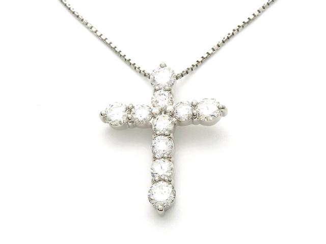【送料無料】ノンブランド クロスネックレス Pt900/850 ダイヤモンド 1.00ct 【437】【中古】【大黒屋】
