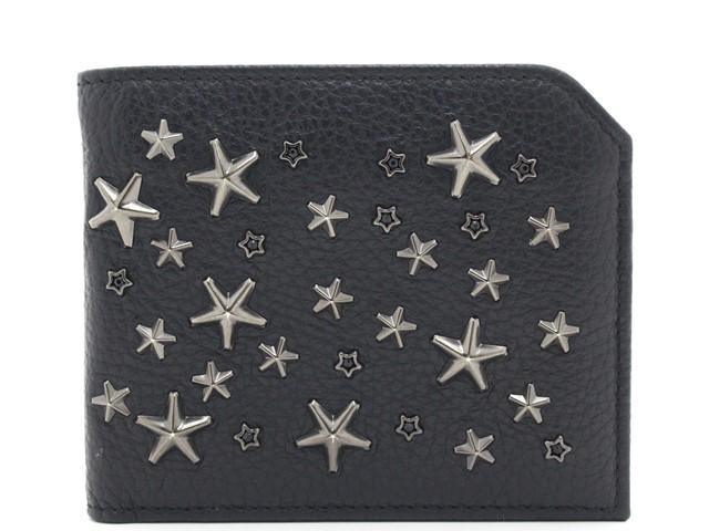 JIMMY CHOO サイフ・小物  二つ折財布 ブラック カーフ/スタッズ【205】【中古】【大黒屋】