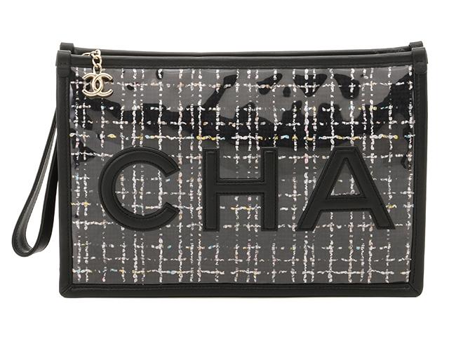 【送料無料】CHANEL シャネル バッグ セカンドバッグ クラッチバッグ ブラック カーフ/ビニール【430】【中古】【大黒屋】